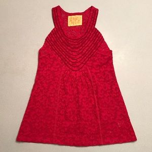 Free People♥️Red Scoop Neck Sleeveless Tunic Small